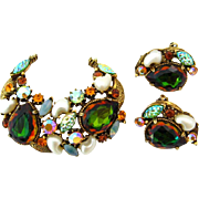 SOLD FLORENZA Watermelon Rhinestone Brooch Earrings Set | Vintage Signed Art Glass Demi Parure