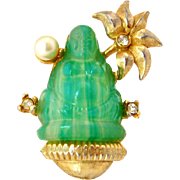 SOLD Buddha Molded Glass Brooch | Vintage 1960s  Lotus Flower Rhinestone Figural Pin