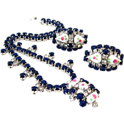SOLD 1950s Blue Milk Glass Flower Necklace Earrings Set | Vintage Rhinestone Floral Demi Parur