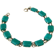 SOLD Art Deco Faux Chrysoprase Green Glass Link Bracelet | Vintage 1930s Sterling Clasp