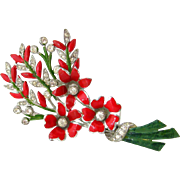 SOLD CORO Red Enamel Flower Brooch Book Pc | Vintage 1940s Rhinestone Floral Bouquet Pin