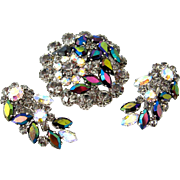 WEST GERMANY Black Diamond Rhinestone Brooch Climber Earrings Set | Vintage Aurora Borealis De