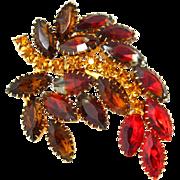 SOLD Vintage 1950s Cascading Rhinestone Brooch | Red Topaz Art Glass Swirl Leaf Pin