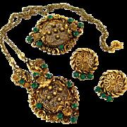SOLD 1930s Ornate Green Rhinestone Necklace Brooch Earrings Parure | Vintage Gold-tone Filigre