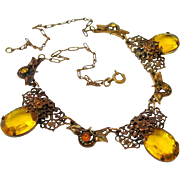 SOLD 1930s Czech Style Citrine Glass Floral Necklace | Vintage Rhinestone Filigree Flower
