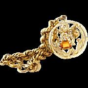 CORO November Birthday Cherub Charm Bracelet | Vintage 1950s Signed Rhinestone Angel