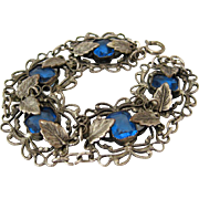 SOLD 1930s Czech Style Blue Glass Bracelet | Vintage Rhinestone Filigree Leaf Link