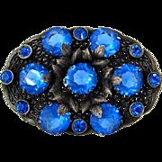 SOLD Czech Style Blue Rhinestone Brooch | Vintage 1930s Ornate Sapphire Glass Leaf Pin
