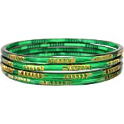 Vintage 1930s Art Deco Emerald Green Glass Bangle Bracelets