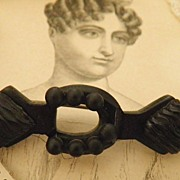 REDUCED Gutta Percha Victorian Lucky Seven Horseshoe Brooch Mourning