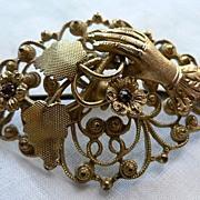 REDUCED Charming Antique Victorian Gilt Filigree Hand Brooch