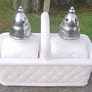 SOLD Imperial Milk Glass Salt & Pepper Shaker in a Basket