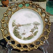 SOLD Westmoreland Milk Glass Plate Painted