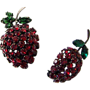 REDUCED MADE IN AUSTRIA Ruby Red & Emerald Green Crystals Strawberry Pins