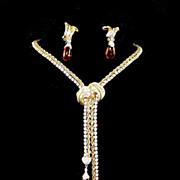 BOUCHER Diamante & Amber Pendants Drop Lariat Necklace & Clip Earrings Set