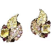 BOUCHER Citrine, Amethyst and Lavender Crystals Floral/Leaf Motif Clip Earrings