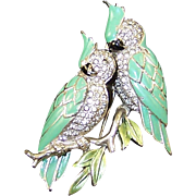 MB BOUCHER Metallic Enamel and Pave Rhinestones 'Cockatoos on a Branch' Pin/Clip