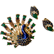 BOUCHER Metallic Enamel, Emerald Green Cabochons, Sapphire Blue Rhinestones Peacock Pin and ..