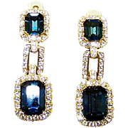 CINER Simulated Sapphire and Diamond Pendant Clip Earrings