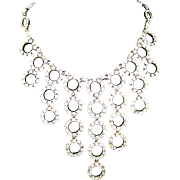 CINER Diamante Circle Pendants Bib Necklace