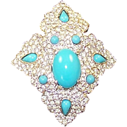 CINER Turquoise Blue Cabochons and Diamante Maltese Cross Pin