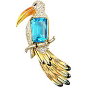 REDUCED CORO CRAFT COROCRAFT 'Adolph Katz'  Sterling Enamel, Blue Topaz, Pave Rhinestones  ...