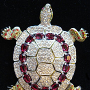 REDUCED CORO CRAFT Corocraft 'Adolph Katz' Large Ruby & Diamante Stones, Red Enamel 'Strass ..