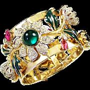 CORO CRAFT COROCRAFT 'Carmen Miranda' Enameled & Bejeweled Camellia Bangle Bracelet