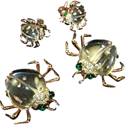 CORO Sterling 'Twinkling Twins' Pair of Jelly Belly and Pave Rhinestone Beetle Pins/Clips
