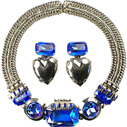 REDUCED ZOE COSTE, France Cobalt Aurora Borealis Necklace and Heart Pendant Clip Earrings Set