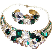 WENDY GELL Diamante & Emerald Crystal Choker Necklace and Cuff Bracelet Set