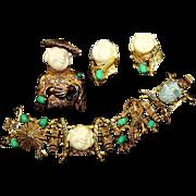 HAR Simulated Jade and Ivory 4-Panel 'Laughing Chinaman/Coolie' Bracelet, Chinaman Pin and Cli