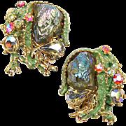 HAR Green Enamel 'Lava Rock' Aurora Borealis Crystals Dragon Clip Earrings