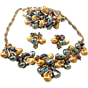 HAR Gray and Gold 'Pearl', Vitrail Aurora Borealis Bib Necklace, Clamper Bracelet and Clip ...