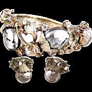 HAR Silver Pearl/'Dragon Egg,' ' Black Diamond' and Clear Rhinestones Hinged Clamper Bracelet