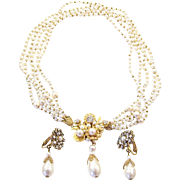 MIRIAM HASKELL Simulated Baroque Pearl 5-Strand Pendant Necklace and Clip Earrings