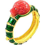 HATTIE CARNEGIE Green Metallic Enamel Molded Coral Lucite Lion's Head Bangle Bracelet