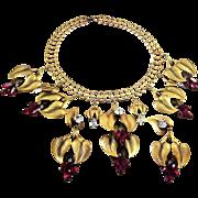 JOSEFF (of Hollywood) Simulated Amethyst & Diamond Calla Lily Pendants Necklace