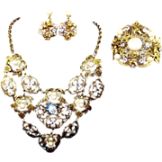 REDUCED JOSEFF (of Hollywood) Gold Scrolled Flowers & Hearts Pearls & Diamante 'Cherubs' Bib .
