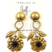 JOSEFF (of Hollywood) Sapphire Blue Cabochons Camellia Clip Pendant Earrings on Original Card