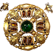 JOSEFF (of Hollywood) Massive Green and Amber Cabochon Bee Pin and Small Bee Clip Earrings ...