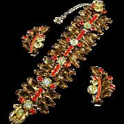JULIANA D&E Colorado Topaz Hexagons Wide Link Bracelet & Clip Earrings Set