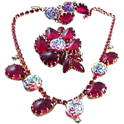 JULIANA/JULIANA Style Ruby Red and Iridescent Molded Glass Rosettes Necklace, Pin, and Clip ..