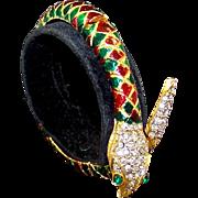 MIMI DI N Harlequin Enamel & Pave Crystals Snake Hinged Bangle Bracelet
