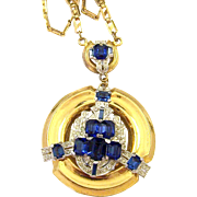 McCLELLAND BARCLAY Simulated Sapphire and Diamond Deco Pendant Necklace