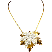 McCLELLAND BARCLAY Gold and Pave Maple Leaf Pendant Necklace