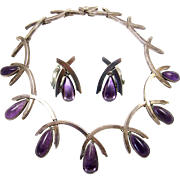 ANTONIO PINEDA 970 Sterling Genuine Amethysts Modernist Link Necklace and Clip Earrings Set
