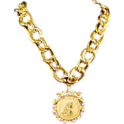 REDUCED NETTIE ROSENSTEIN Large Diamante Crowned Imperial Coin Medallion Necklace