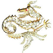 REDUCED HOUSE OF SCHRAGER Fifth Avenue Diamante Dragon Pin