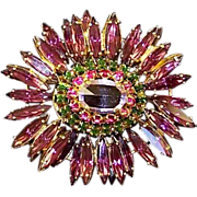 REDUCED SCHREINER (unsigned) Lilac, Amethyst, Fuchsia and Emerald Crystals Ruffle Pin/Pendant